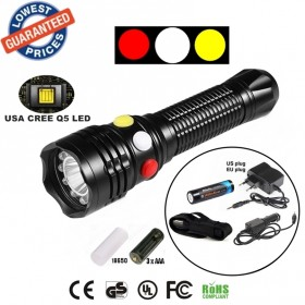 ALONEFIRE RX1-RWY CREE XPE Q5 LED Red White Yellow Railway Signal light flashlight torch with charger 18650 Rechargeable battery