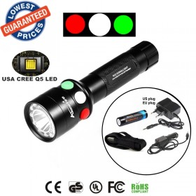 ALONEFIRE RX2-RWG CREE XPE Q5 LED Red White Green Railway Signal lamp flashlight torches with Charger 18650 Rechargeable battery