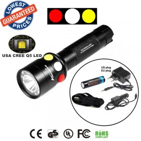 ALONEFIRE RX2-RWY CREE XPE Q5 LED Red White Yello waterproof Railway Signal lamps flashlights torches with Charger 18650 battery