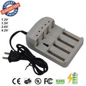 4 Port Gradually Adjustable Universal Battery Charger for 26650 18650 14500 10440 AA AAA etc Battery - US / UK / EU AC Plug