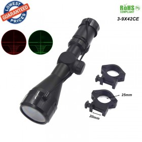 High definition 3-9x42CE R&G Illumination Mil-dot Reticle hunting Red green laser coordinates Scope Telescopic telescope