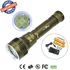 2015 New DX5 8000LM Underwater 100MDiving Waterproof 5x CREE XM-L2 LEDFlashlight Torch Lamps + 2x18650 Battery + Charger