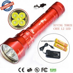 2015 new SY-068 Diver 100m waterproof 5xCREE XML L2led diving flashlight 8000LM torch magnetic switch lanterna with 2x18650 battery+charger