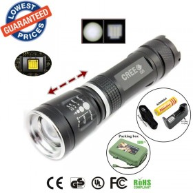 ALONEFIRE E803 CREE Q5 Zoom LED Flashlights Torches lamps with 18650 battery/charger