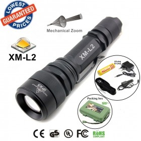 ALONEFIRE E37 CREE XM-L2 led 2200Lumens Mechanical Zoomable Flashlights Torches lights with 18650 battery/charger/Holster/car charger