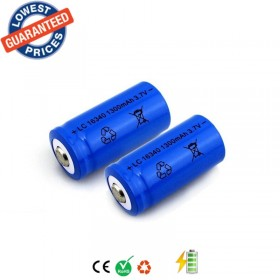 ALONEFIRE LC16340/CR123A 3.7V 1300mAh Lithium Li-ion Rechargeable Tactical lights Durable Battery 2pc