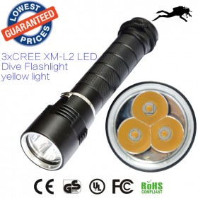 AloneFire DV11 warm light 3 X CREE XML L2 LED Diving Flashlight Torch Waterproof 100m Depth Underwater Diver LED Flash Light yellow light