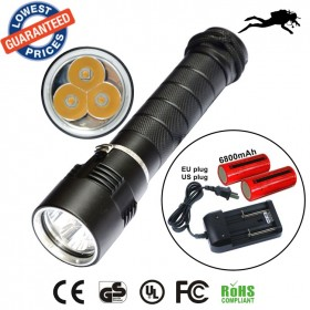AloneFire DV11 warm light 3 X CREE XML T6 LED Diving Flashlight Torch Waterproof 100m Diver torch Light yellow light+26650 battery+charger