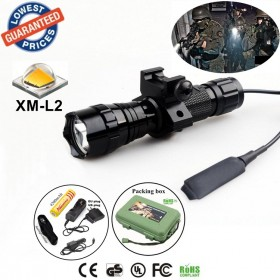Tactical 501Bs CREE XM-L2 LED 1/3/5 mode Rail-Mounted Tactical Light Professional Hunting floodlight flashlight torch with battery/charger