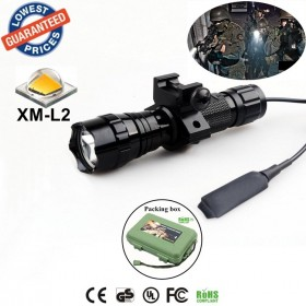 501Bs CREE XM-L2 LED 1/3/5 mode Rail-Mounted Tactical Light Professional Hunting floodlight flashlights torches