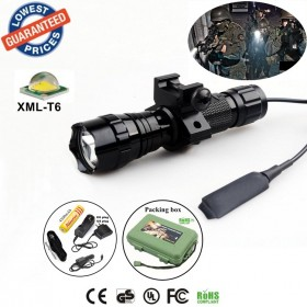 Tactical 501Bs CREE XML-T6 LED 1/3/5 mode Rail-Mounted Tactical Light Professional Hunting floodlight flashlights torches with battery/charger
