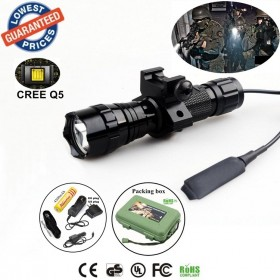 Tactical 501Bs CREE Q5 LED 1/3/5 mode Rail-Mounted Tactical Light Professional Hunting floodlight flashlights torches Lamp with battery/charger