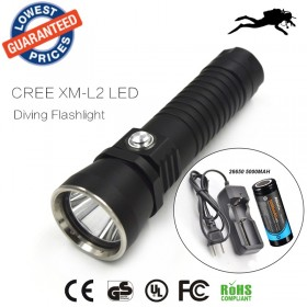 DV14 Diving 2000Lm Underwater Flashlight CREE XM-L XML L2 LED Torch Light Waterproof Brightness Durable+26650 battery+charger