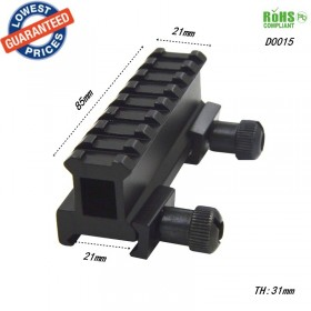 AloneFire D0015 Dovetail Weaver Picatinny Rail Adapter 20mm to 20mm 8 Slots Tactical Scope Extend rise Mount