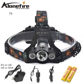 AloneFire HP98 8000Lm Multifunction 4Mode Head Lamp Bead T6+2R5 LED Headlamp Headlight Camping Light Flashlight Torch+Battery+Charger