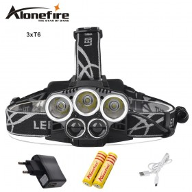 AloneFire HP25 8000LM XML T6 led headlight headlamp head lamp light 6mode torch+18650 battery+AC/Car charger