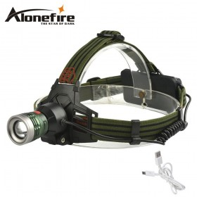 AloneFire HP27 usb headlamp Multi-fonction headlights 3Mode Zoomable head lamp torch