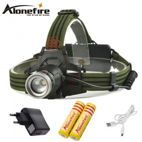 AloneFire HP27 headlights Zoomable head lamp usb light 3mode torch+2x18650+charger+usb cable