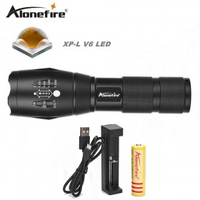 AloneFire E17 CREE XP-L V6 Ultra bright 10W LED Flashlight zoom focus flashlight V6 lantern torch zoomable waterproof 18650 battery hand light
