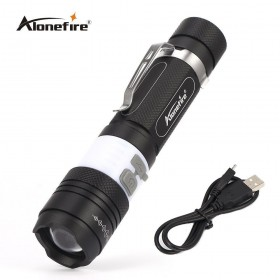 AloneFire X190 COB USB LED Flashlight 18650 Zoom Torch Waterproof Flashlights XM-L T6 3800LM 3 Mode Led Zoomable Light for Hunting Camping