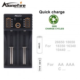 Alonefire MC202 Intelligent Li-ion 3.7v Rechargeable batteries LiFePO4 Ni-MH Ni-Cd 1.2V Rechargeable battery charger For 26650 18650 18350 16340 10440
