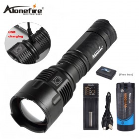 AloneFire X981 USB XM-T6 Zoom 26650 led flashlight Lantern Zoomable Torch hunting lighting Lamp light