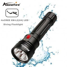 AloneFire DV46 High Power CREE XM-L2 U4 LED Scuba Flashlight Torch Underwater Venture 150m Waterproof Rechargeable Diving Flashlight