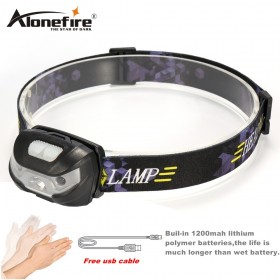 AloneFire HP31 Mini Rechargeable LED Headlamp 3000Lm Body Motion Sensor Headlight Camping Flashlight Head Light Torch Lamp With USB
