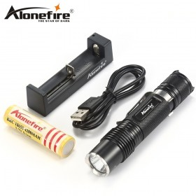 AloneFire X350 high quality 1020 Lumens 6modes LED Flashlight 18650 Light Torch for Camping Hiking with 18650 battery charger