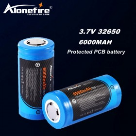AloneFire Original 3.7V 32650 battery 6000mah with Protected PCB rechargeable lithium ion cell for Electric toys