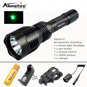 AloneFire HS-802 Hunting LED Flashlight Green Light Long Distance Power By 18650 Battery With Gun Mount Remote Switch