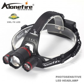 AloneFire HP33 Zoomable LED Photosensitive HeadLamp Sensor LED Headlight Camping Flashlight Head Light Torch Lamp With USB