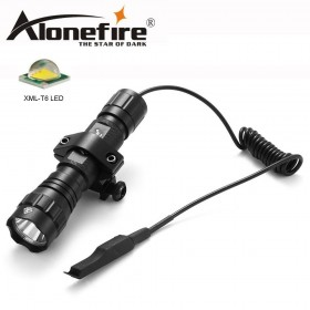 AloneFire 501Bs XML T6 LED Tactical Flashlight Portable Lantern Hunting Torch with Remote Pressure Switch Gun Mount