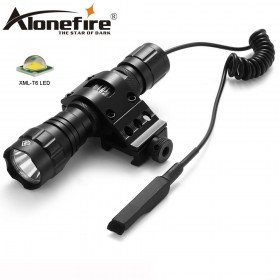 AloneFire 501Bs T6 LED Tactical Torch Flashlight for Outdoor Hiking Hunting Light Lamp with Rifle Mount + Remote Switch