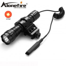 AloneFire 501Bs Tactical 501B Red LED Flashlight Hunting Torch +Gun Mount Rail Picatinny Lamp+Pressure Switch
