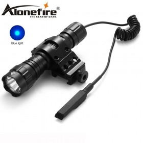 AloneFire 501Bs Blue LED Tactical Flashlight Flash light Hunting Camping Linternas led Torch Gun Mount+Pressure Switch