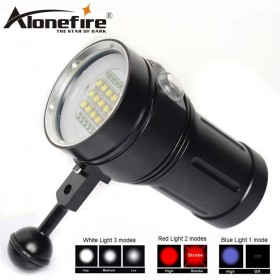 AloneFire DV49 Professional Diving Light Underwater 80m Scuba Video Light 15 XM L2 LED Photography Video Dive Flashlight Lamp