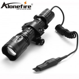AloneFire TK400 Tactical light cree xml L2 led hunting flashlight zoom torch+Mount +Pressure Switch