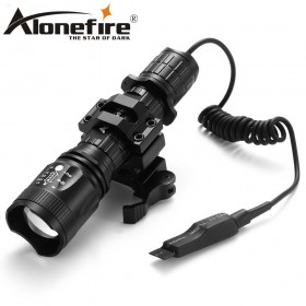 AloneFire TK400 Tactical light Torch CREE Zoomable LED flashlight XM-L2 hunting lights with remote pressure pad switch / mounts