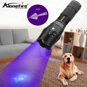AloneFire High quality G700 XPE LED Zoom UV Light Flashlight 395nm torch lamp UV adhesive curing Travel safety UV detectio AAA 18650