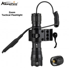 AloneFire tk503 Tactical Zoom Flashlight Waterproof Weapon Light Pistol Gun Lanterna Rifle Picatinny Weaver Mount For Hunting