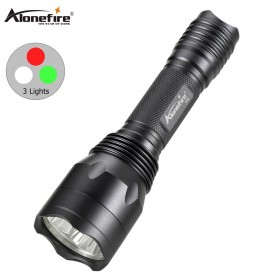 AloneFire C10 Tactical flashlight Hunt Light Red/green/white High power lantern Torch Lamp