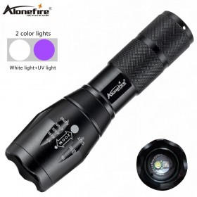 Alonefire E17 T6+395nm UV flashlight Ultra Violet Light With Zoom Function Mini UV Black Light Pet Urine Stains Detector Scorpion