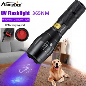 Alonefire G700-C UV Flashlight 365nm UV LED Torch Back Detector Light for Dog Cat Urine, Pet Stains, Bed Bugs, Scorpions