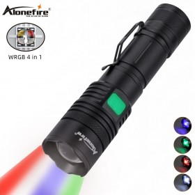 Alonefire X37 RGBW 4 Color in 1 Multi-color Led Tactical Flashlight Red Green Blue White Spotlight Zoomable Hunting Light