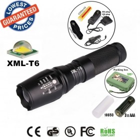 UltraFire E26 CREE XM-L T6 led 2000Lumens Zoomable LED Flashlights Torches lamplight with 18650 rechargeable Battery/charger/holster/box