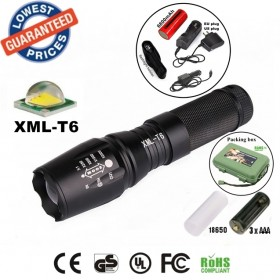 UltraFire E26 CREE XM-L T6 led 2000Lumens Zoomable LED Flashlights Torches lamplight with 26650 rechargeable Battery/charger/holster/box